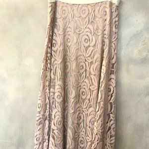Lord Kitch Nude Lace Maxi Skirt